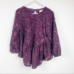 Altar'd state purple blouse S floral peplum